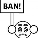 fake emoticon ban face coloring page
