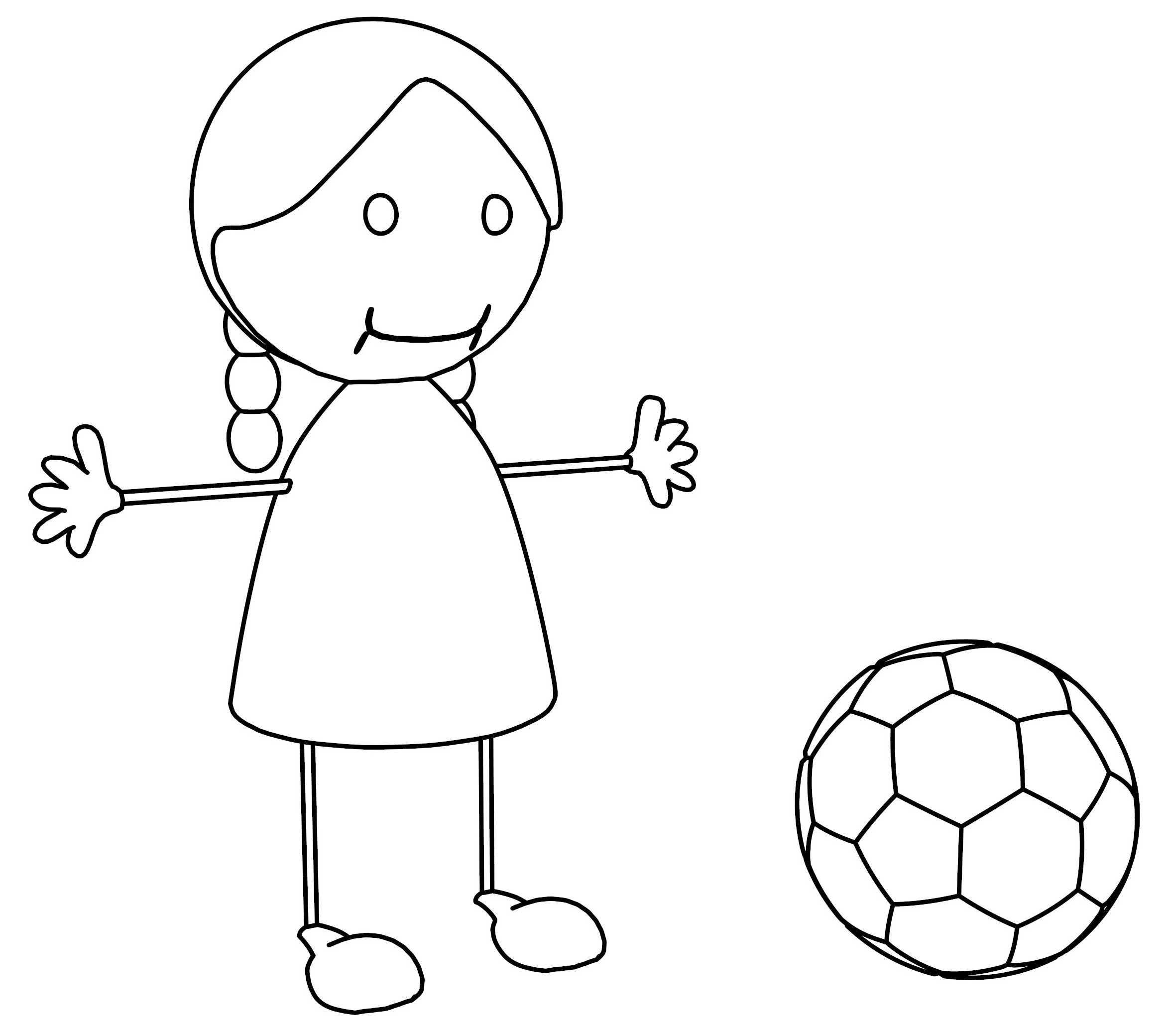 Smiley Girl Catch Ball Coloring Page