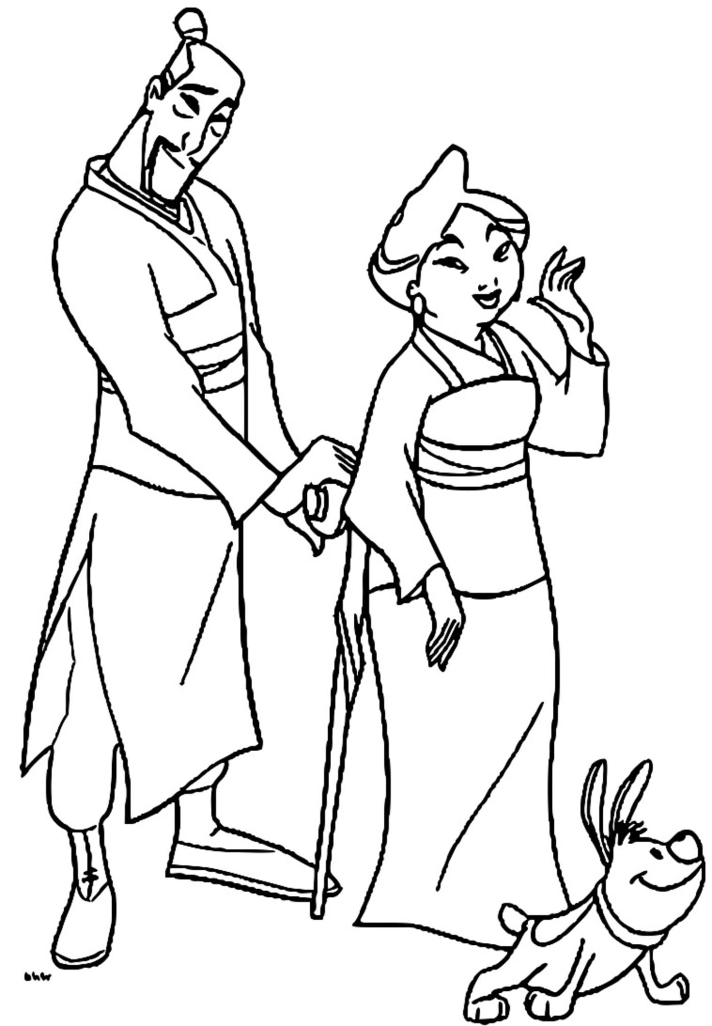 Mulan Family Coloring Page 21