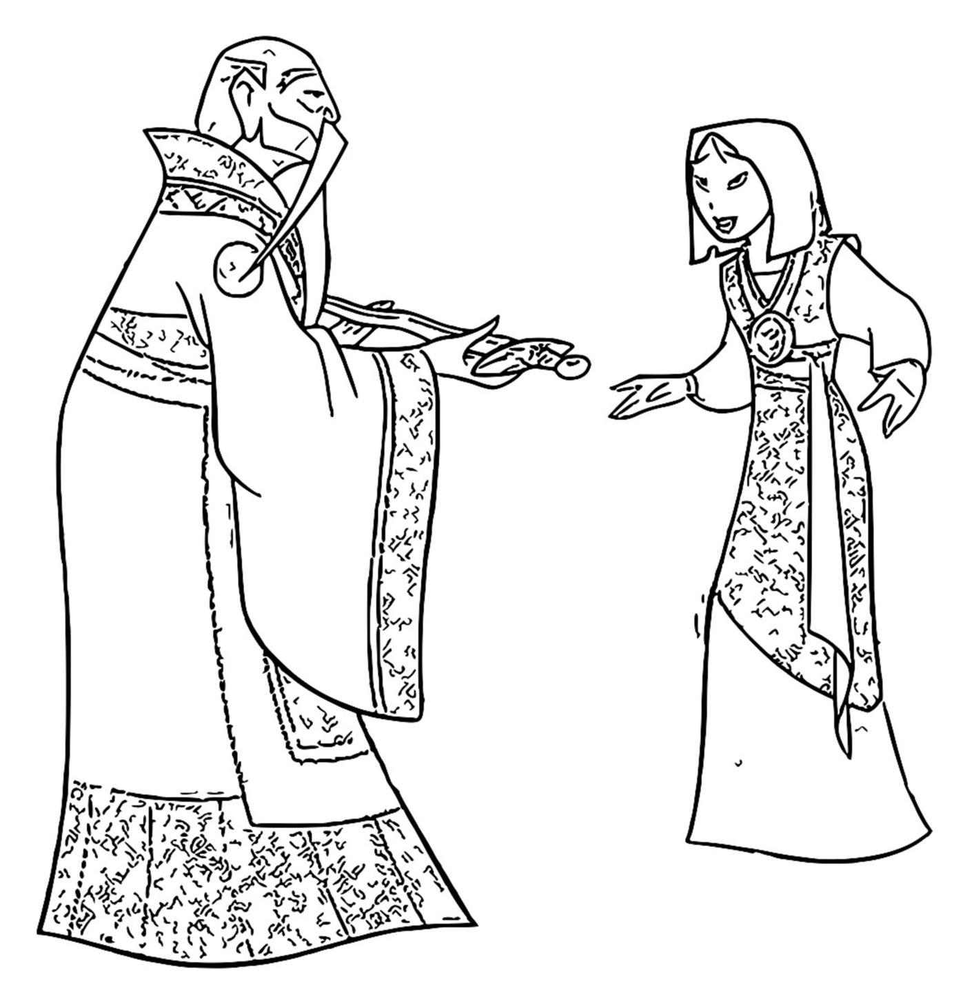 Mulan The Emperor and Chi Fu 1 Coloring Page