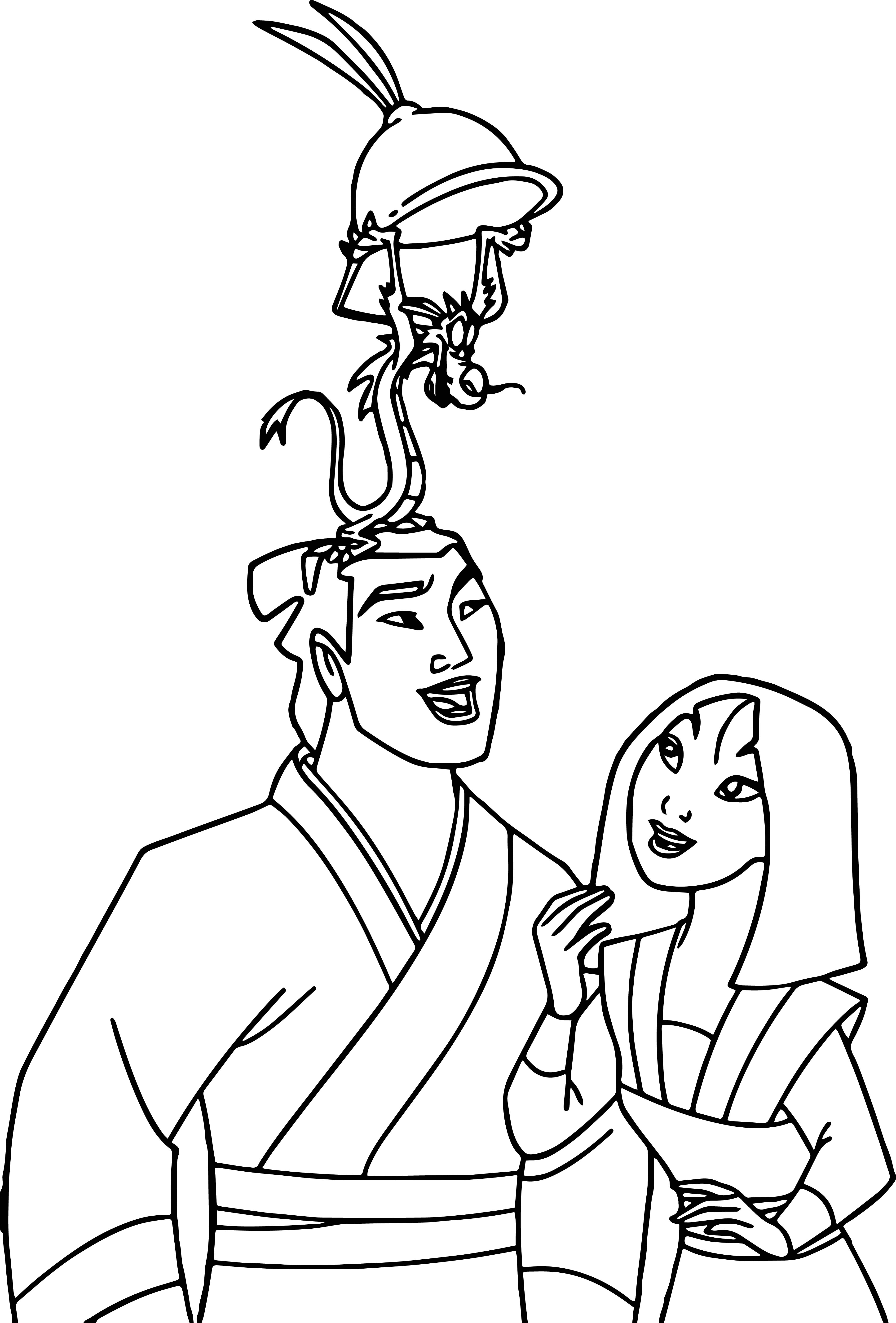 Mulan and Friends Coloring Page 02