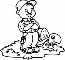 Boy And One Number Turtle Coloring Page