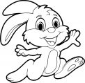 Bunny Cartoon Running Image Coloring Page