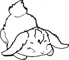 Cute White Bunny Sleep Coloring Page