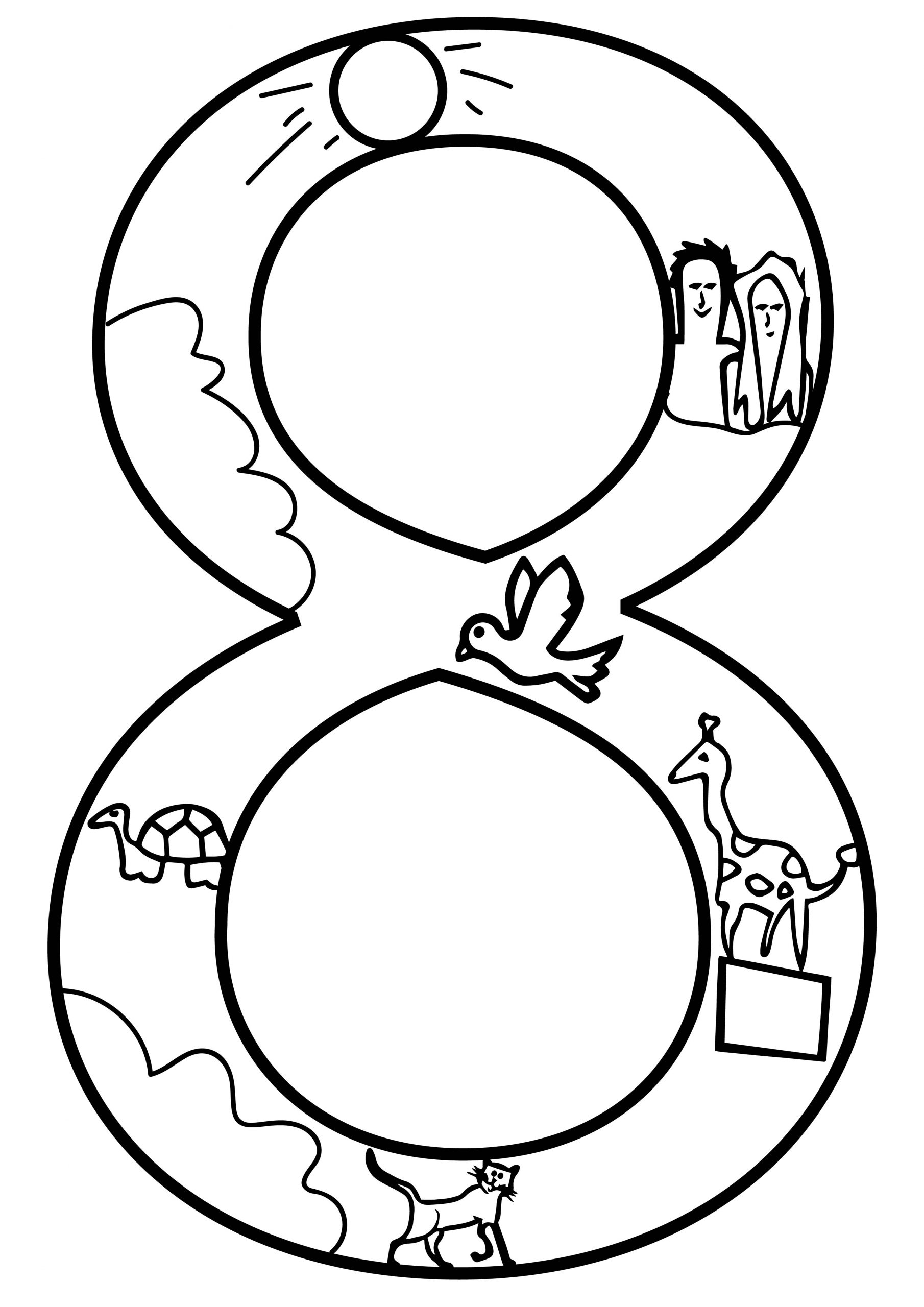 Day Number Eight 8 Coloring Page