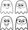 Four Cute Cartoon Pacman Ghost Coloring Page