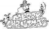 Merry Christmas Santa Claus Tree Text Cartoon Coloring Page