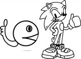 Pacman And Sonic Alright Coloring Page