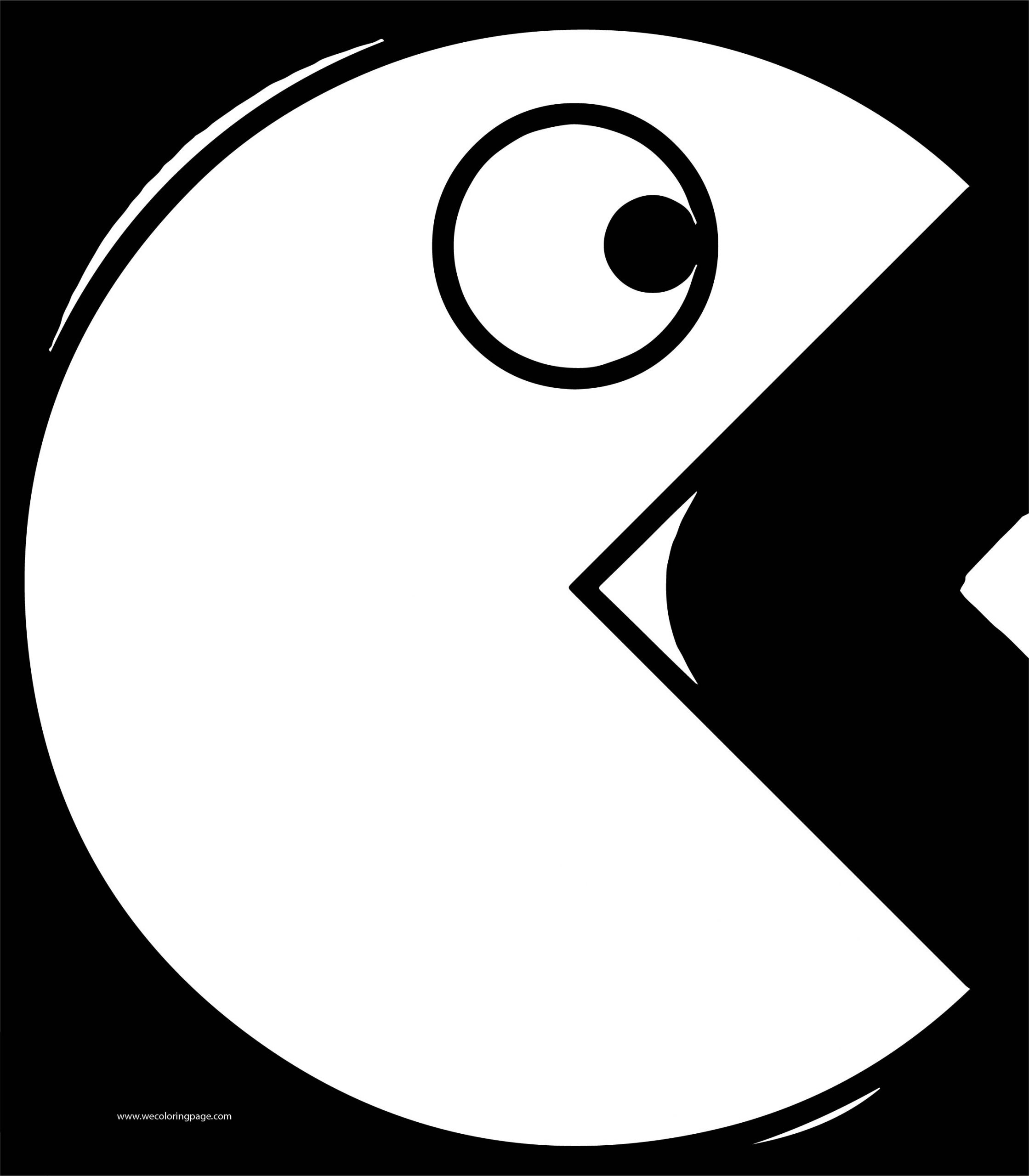 Pacman Black Background Open Mouth Coloring Page
