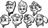 Paw Patrol Faces Coloring Page