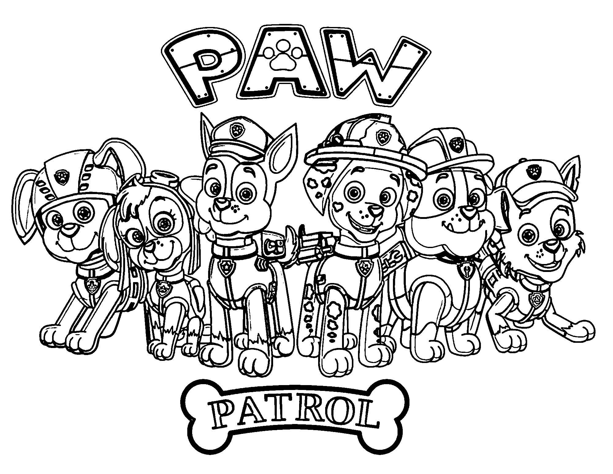 Paw Patrol Sheet Coloring Page