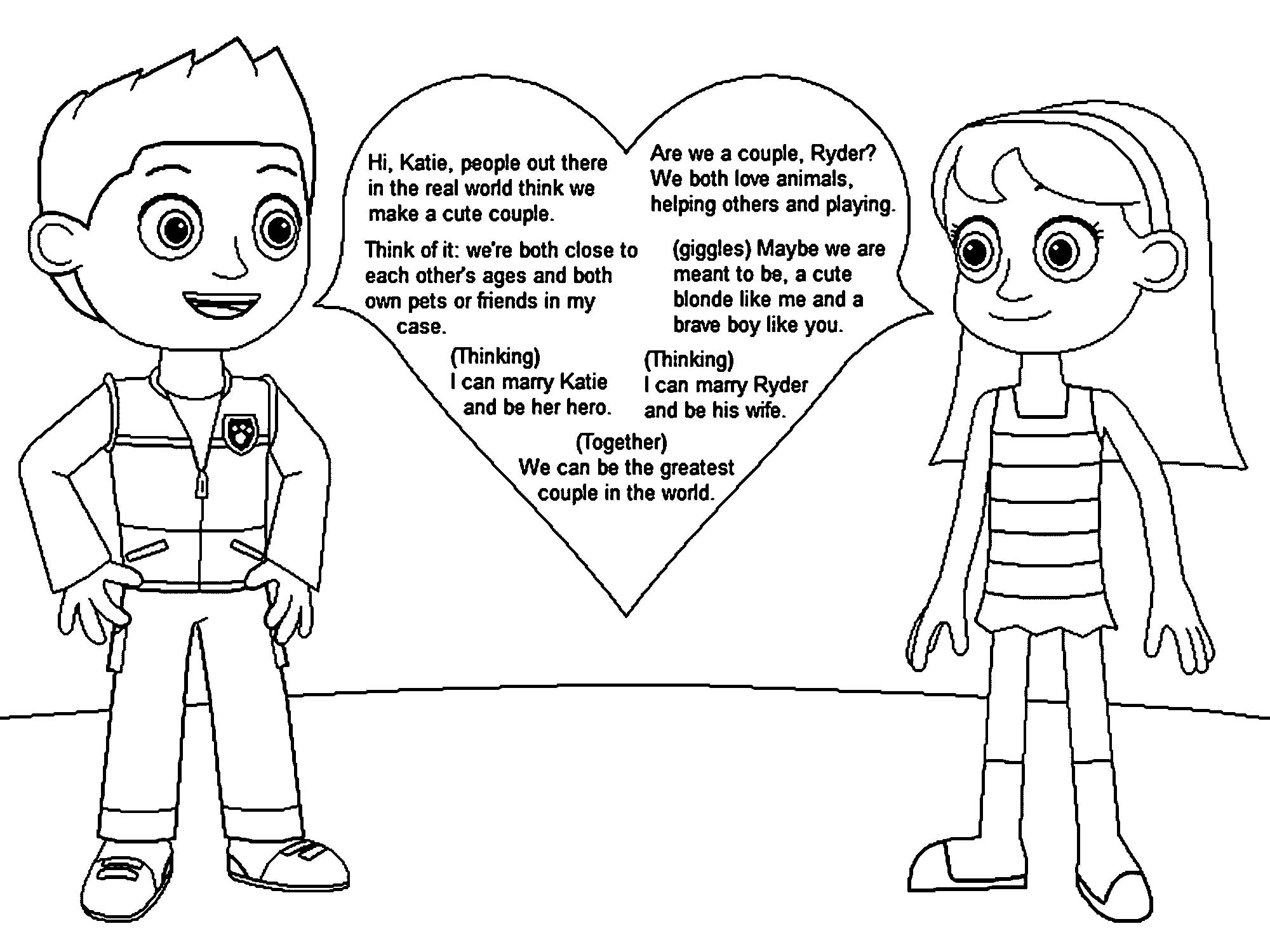 Ryder S And Katie S Love Messages Gamekirby Drjyb Coloring Page