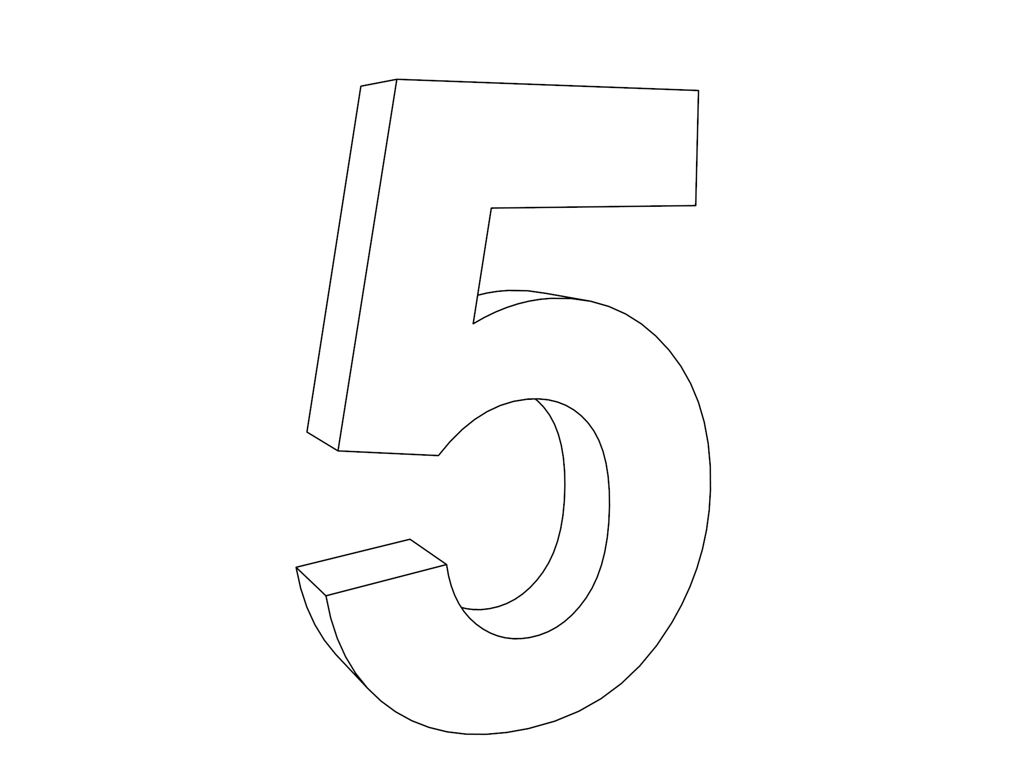 3d Five Number Coloring Page