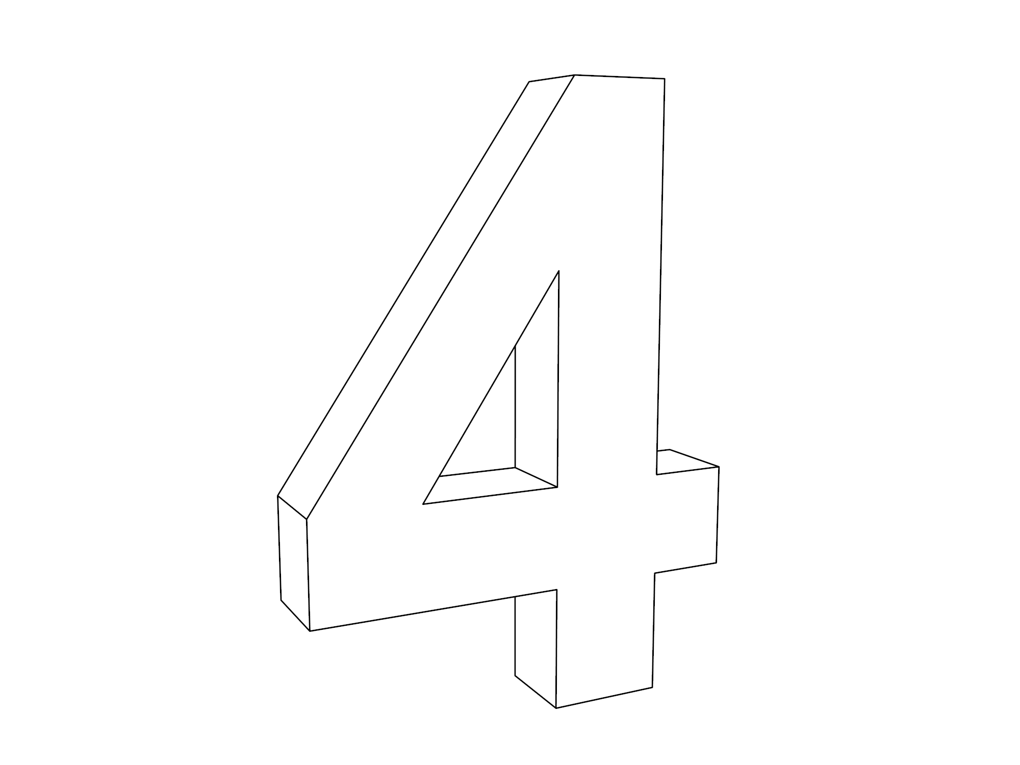 3d Four Number Coloring Page