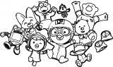 All Pororo Chracters Family Coloring Page