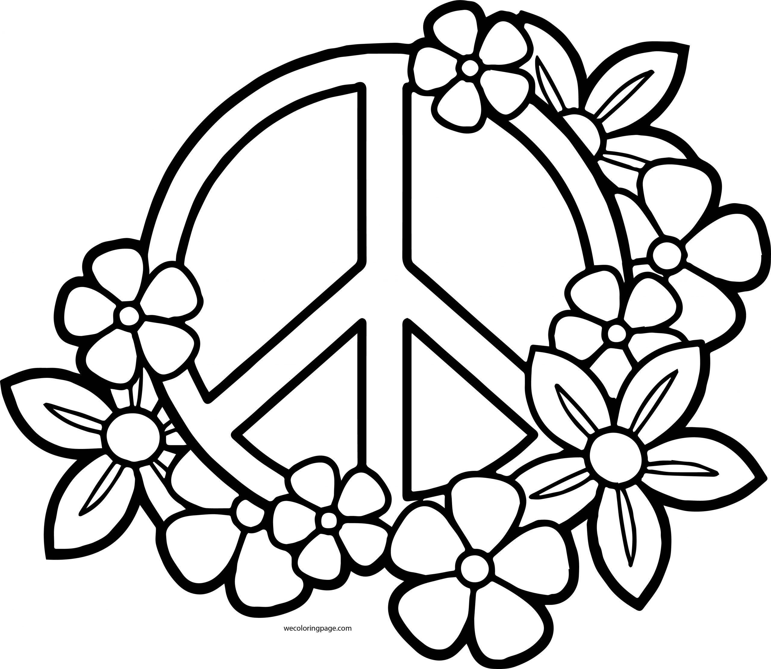 Peace Sign Flowers Coloring Page
