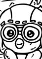 Pororo And Cute Face Coloring Page