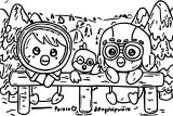 Pororo And Cute Friends Coloring Page