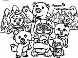 Pororo Family Cartoon Animal Coloring Page