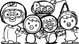 Pororo Family In The House Coloring Page
