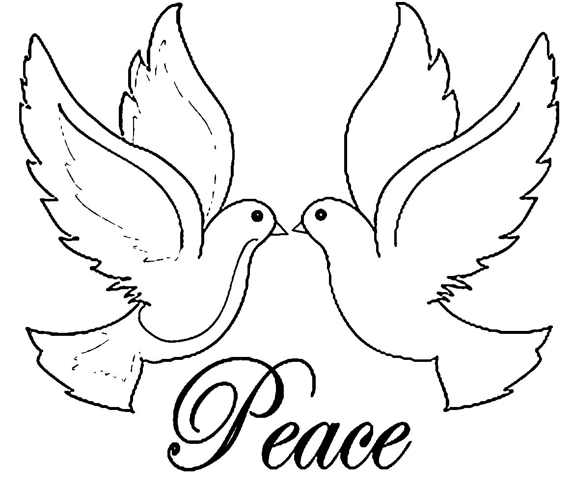 Two Love Birds Or Doves Of Peace With The Word Peace Coloring Page