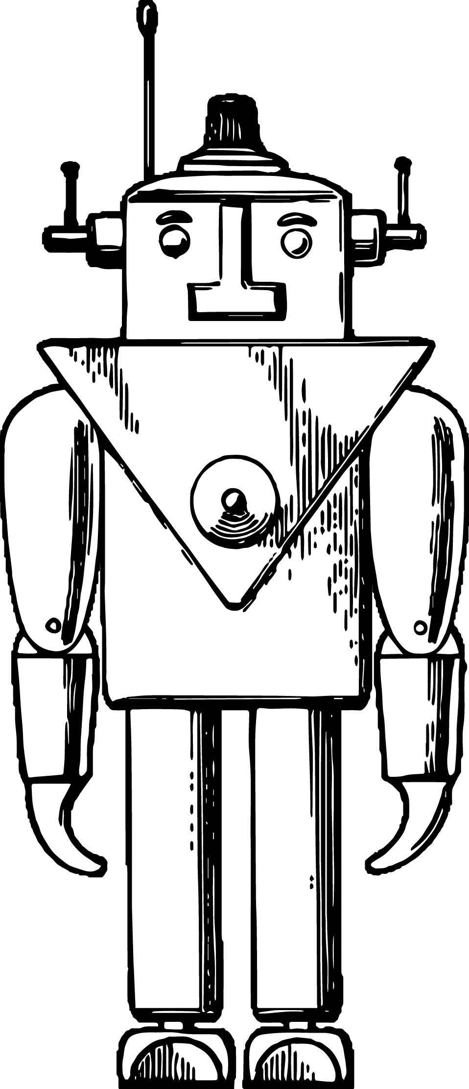 Old Robot Coloring Page