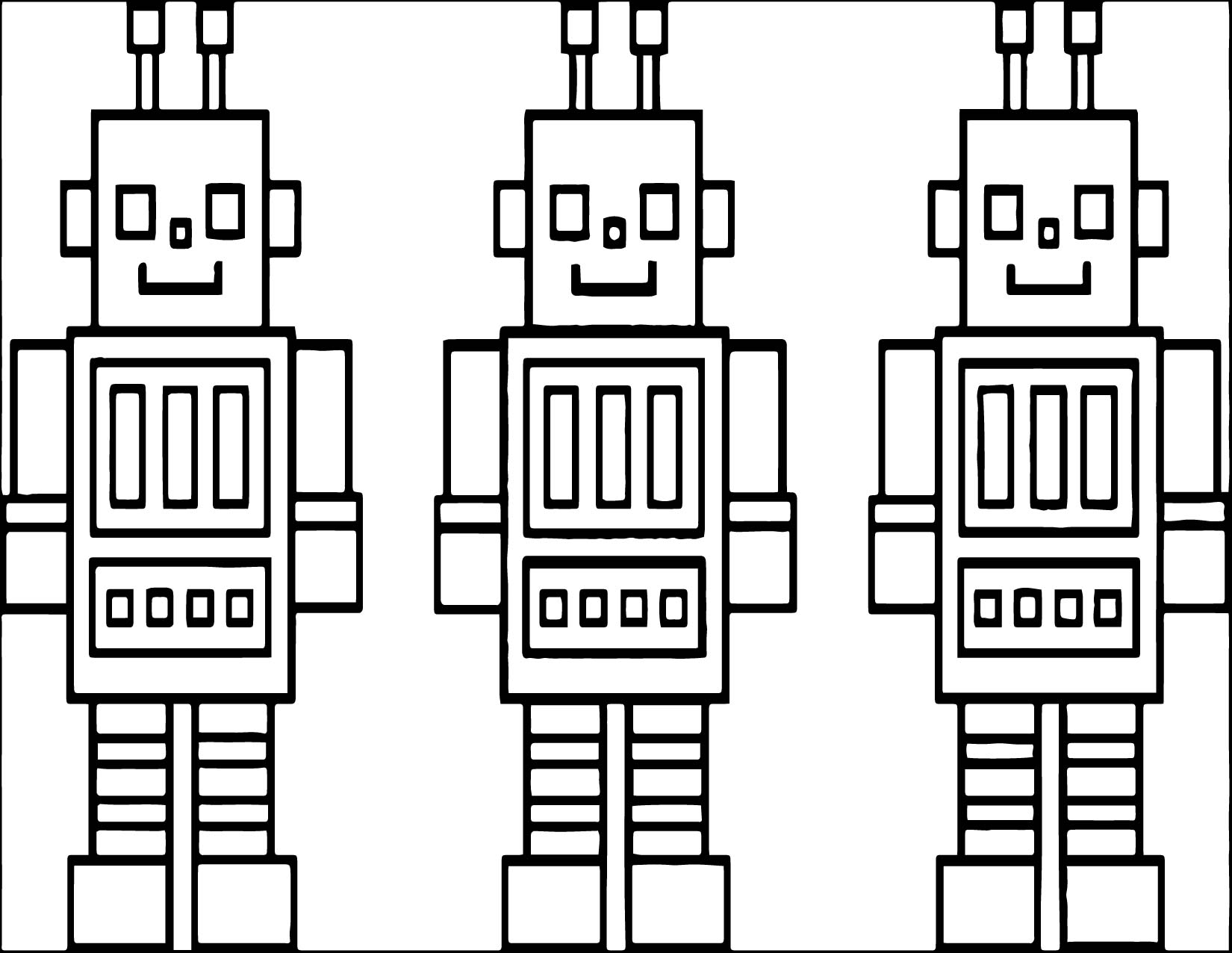 Three Box Robot Coloring Page