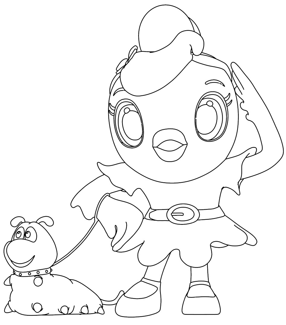 Cartoon Girl Chiken With Worm Coloring Page