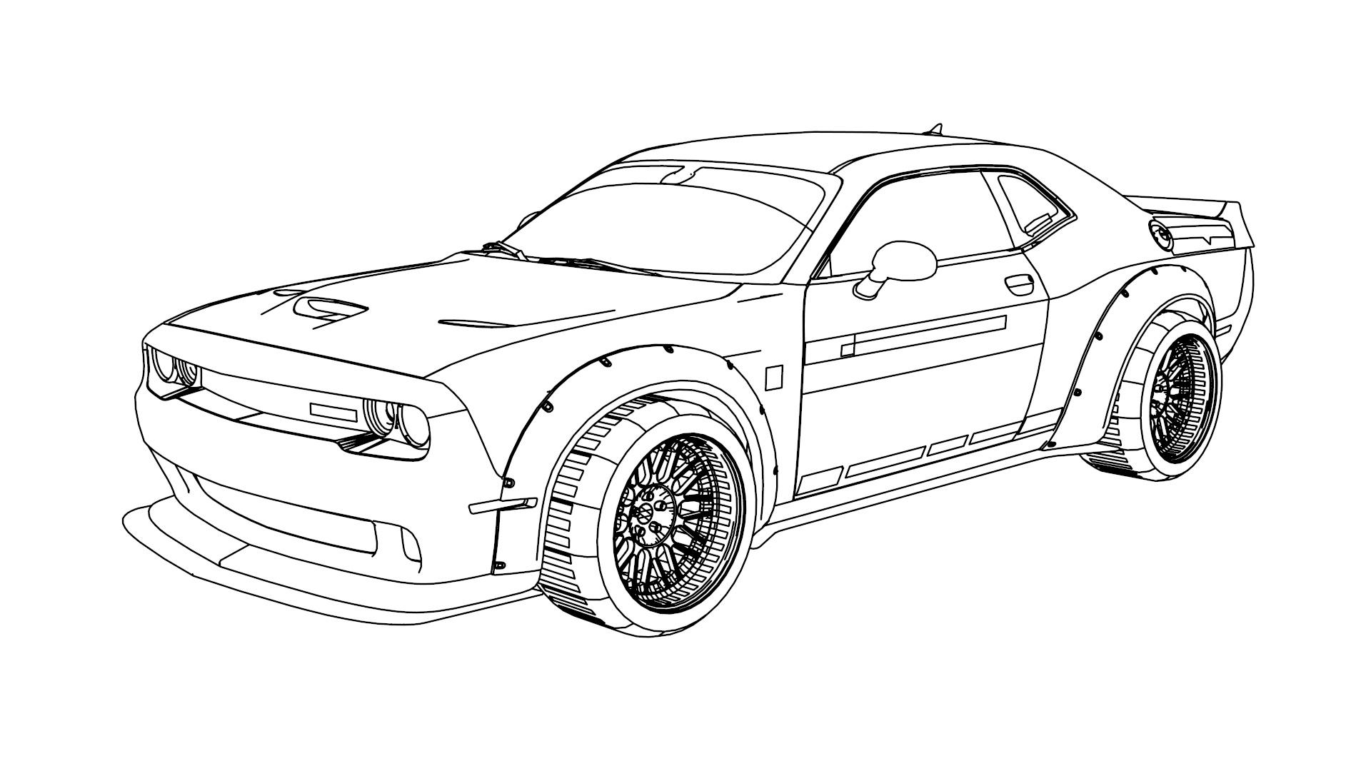 Dodge Challenger SRT Hellcat LBW 2015 Coloring Page