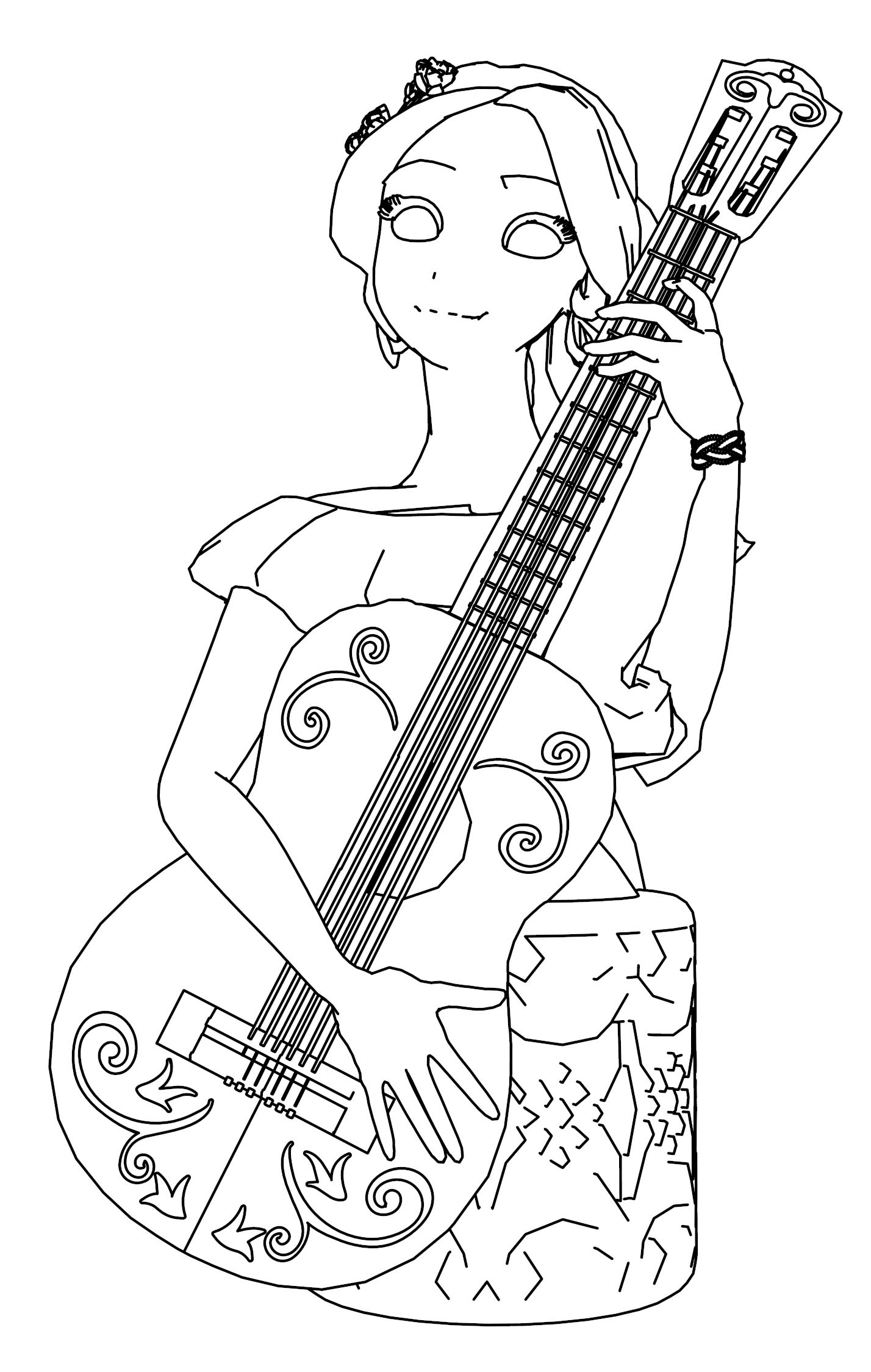 ELENA OF AVALOR HANDLE GUITAR LINE COLORING PAGE