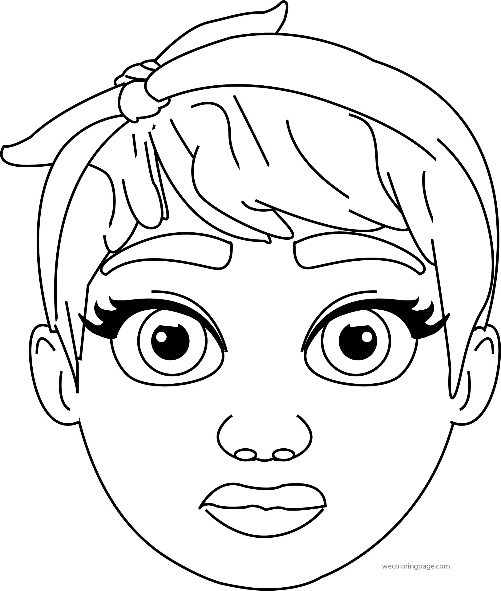 cartoon girl turn face head coloring page