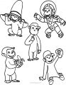 5 curious george monkey machine embroidery design coloring page