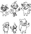 Animal Characters Coloring Page