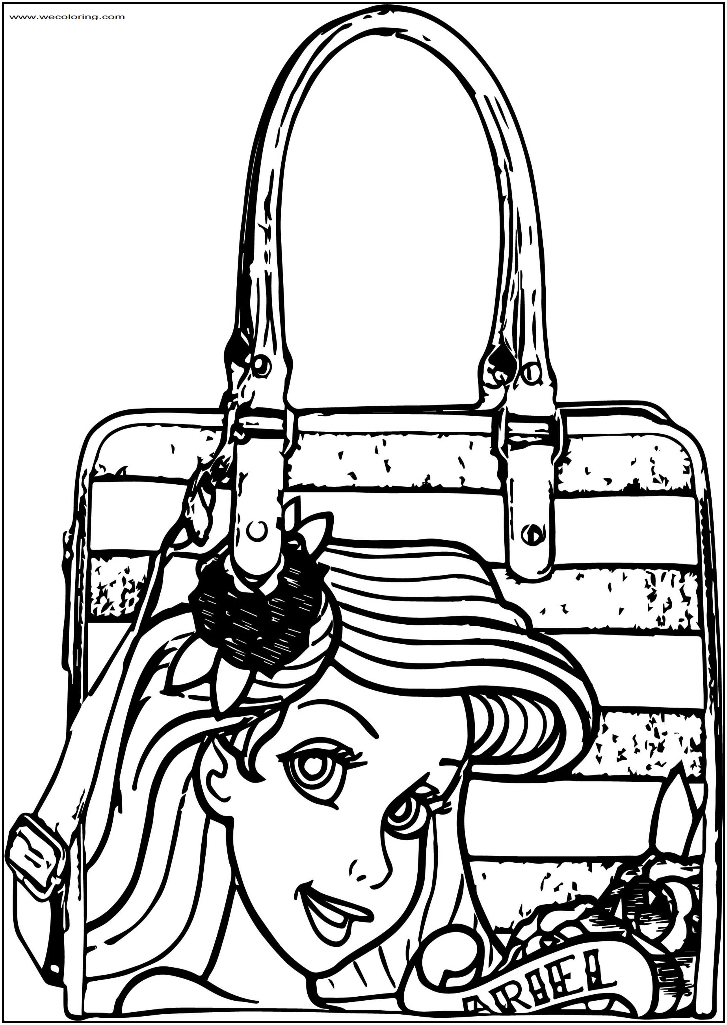Ariel Mermaid Bag Free Printable Coloring Page