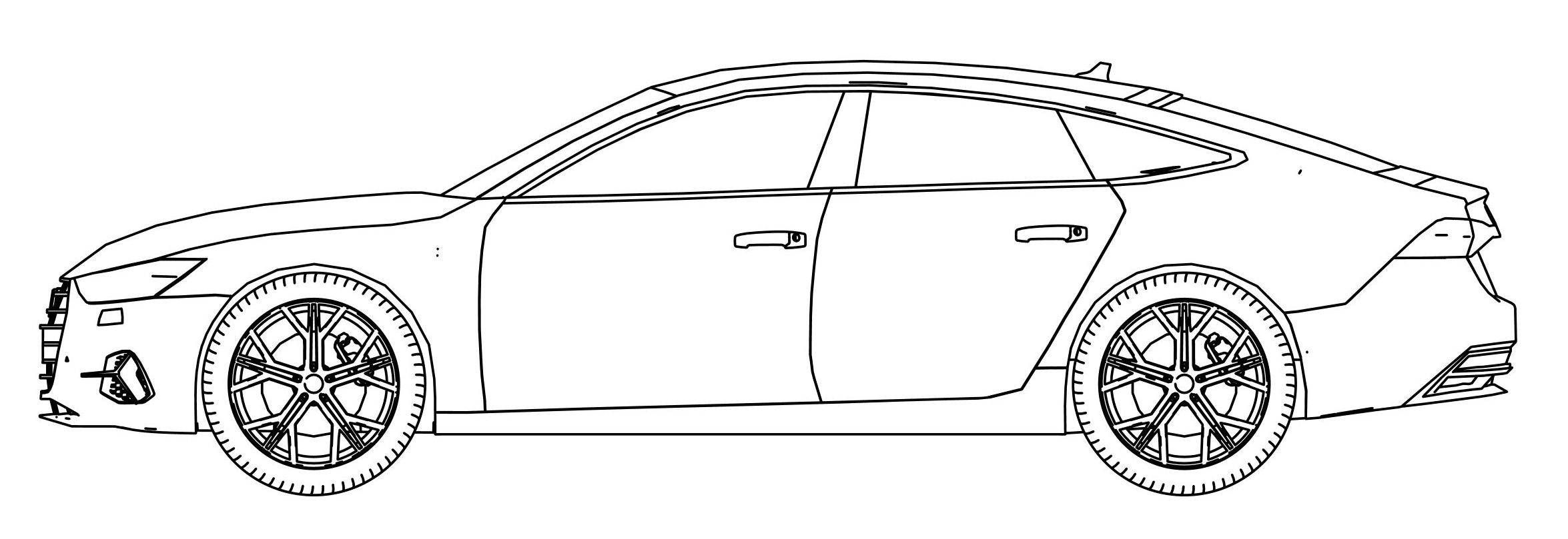 Audi A7 Side View Coloring Page