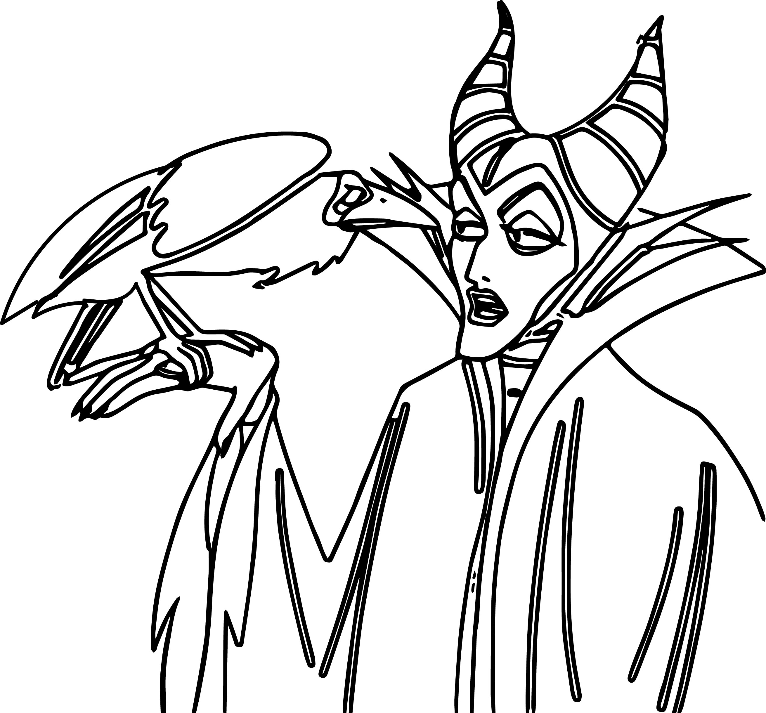 Aurora Maleficent Talking With Crow Coloring Page
