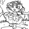 Baby Dora Flower World Coloring Page