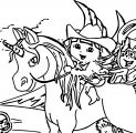 Baby Dora On The Unicorn King Coloring Page