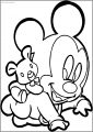 Baby Mickey Carrying Bear Free A4 Printable Coloring Page