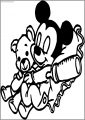 Baby Mickey Sleep With Bear Toy Free A4 Printable Coloring Page