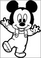 Baby Mickey Walking Free A4 Printable Coloring Page