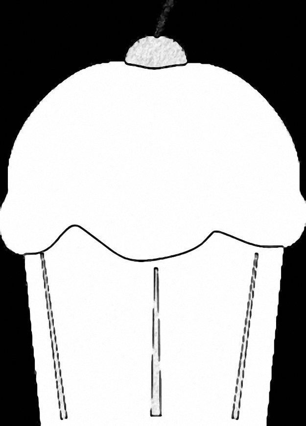 Background Black Cupcake Cup Cake Coloring Page 07