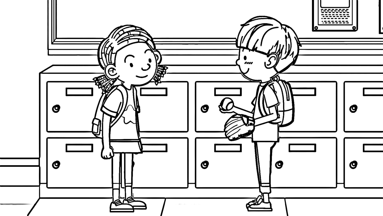 Baseball English Teacher Boy And Girl Coloring Page