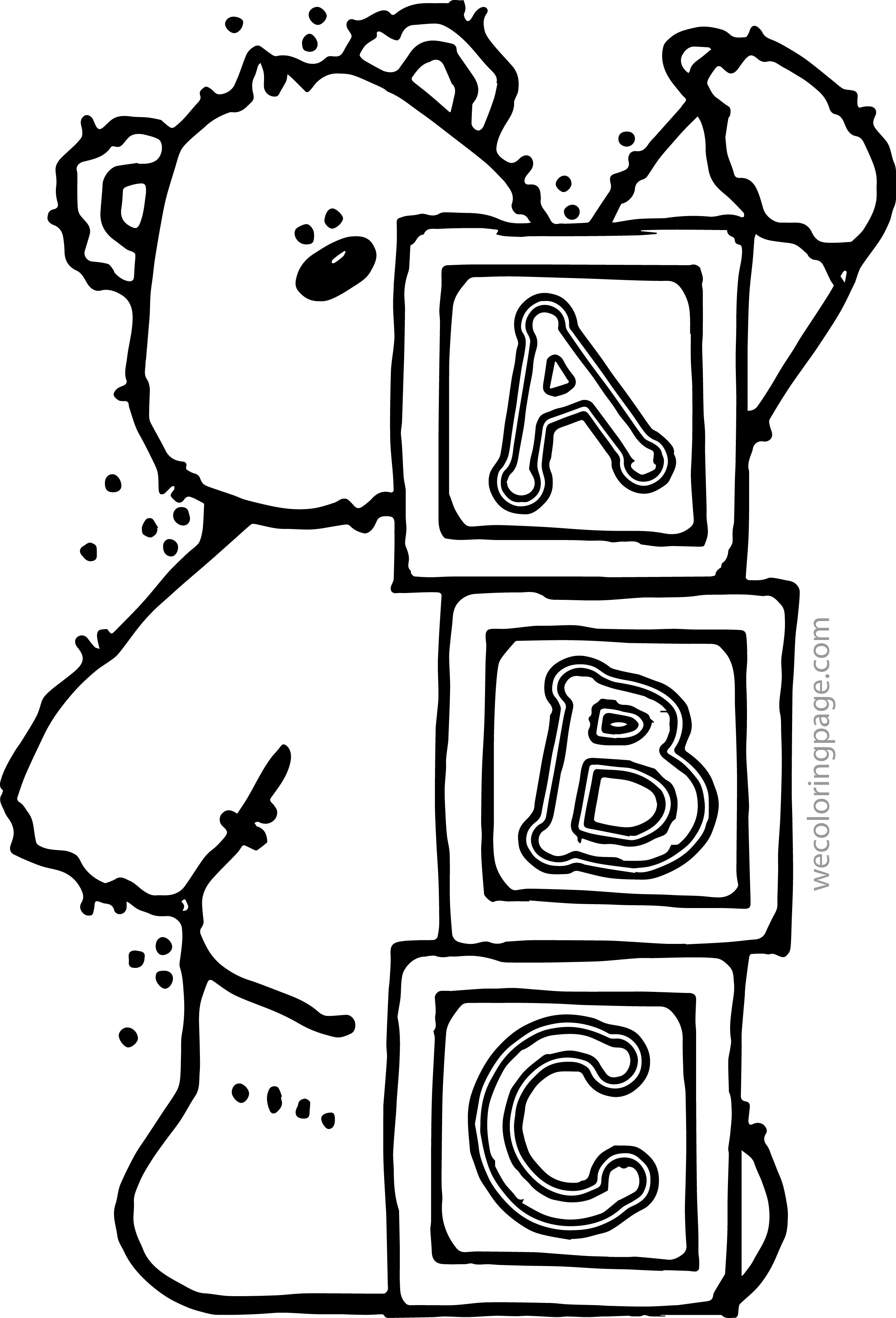 Bear A B C Coloring Page
