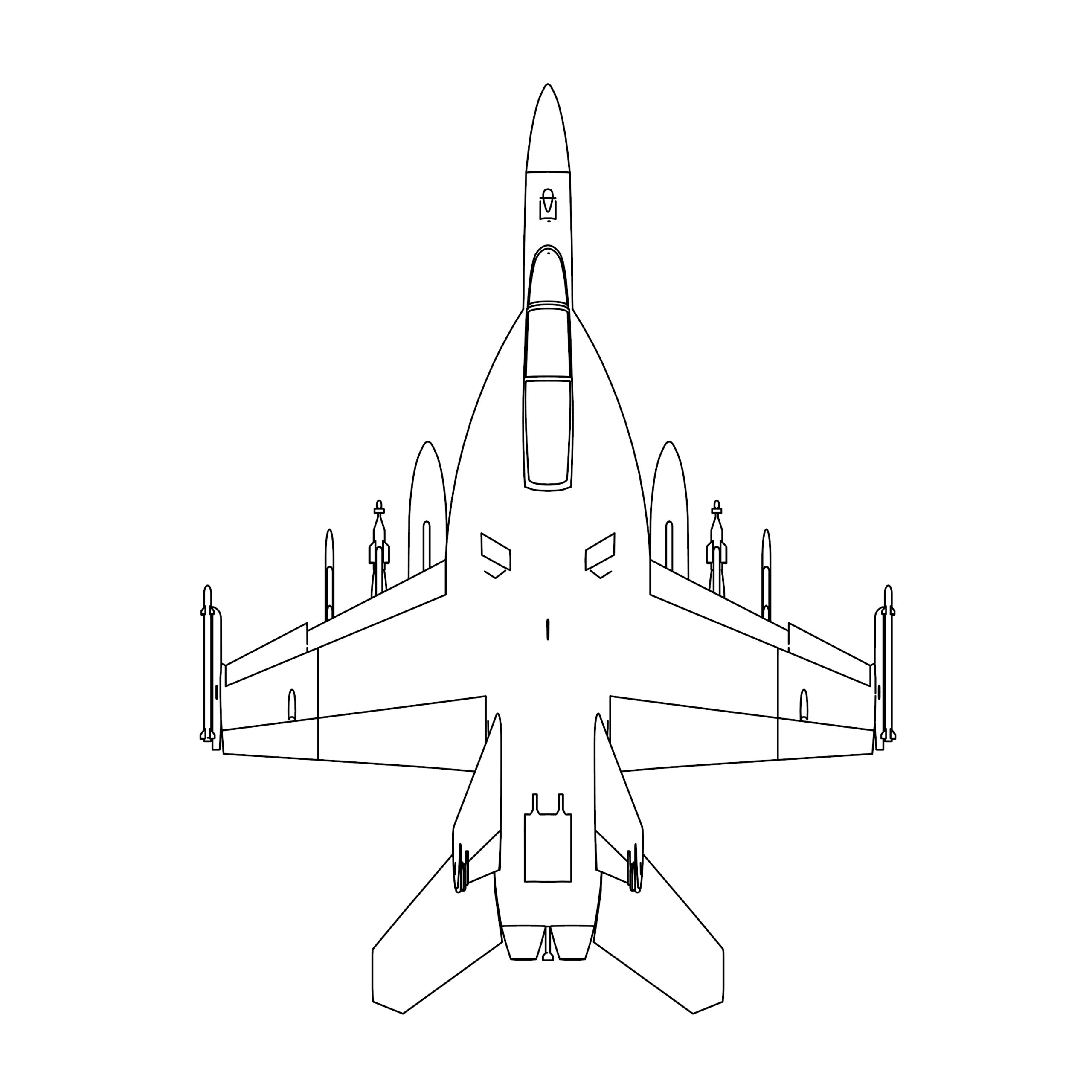 Boeing FA-18F Super Hornet Top View Coloring Page