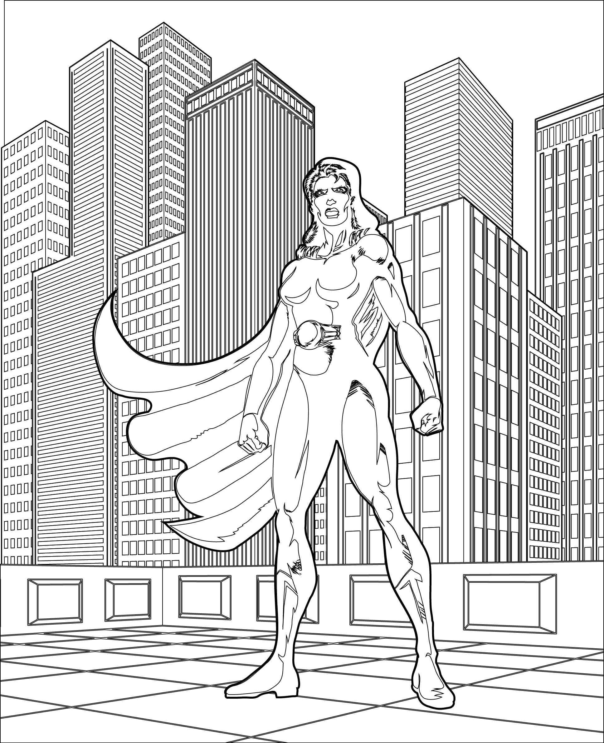 Bold Female Superhero Coloring Page In The City