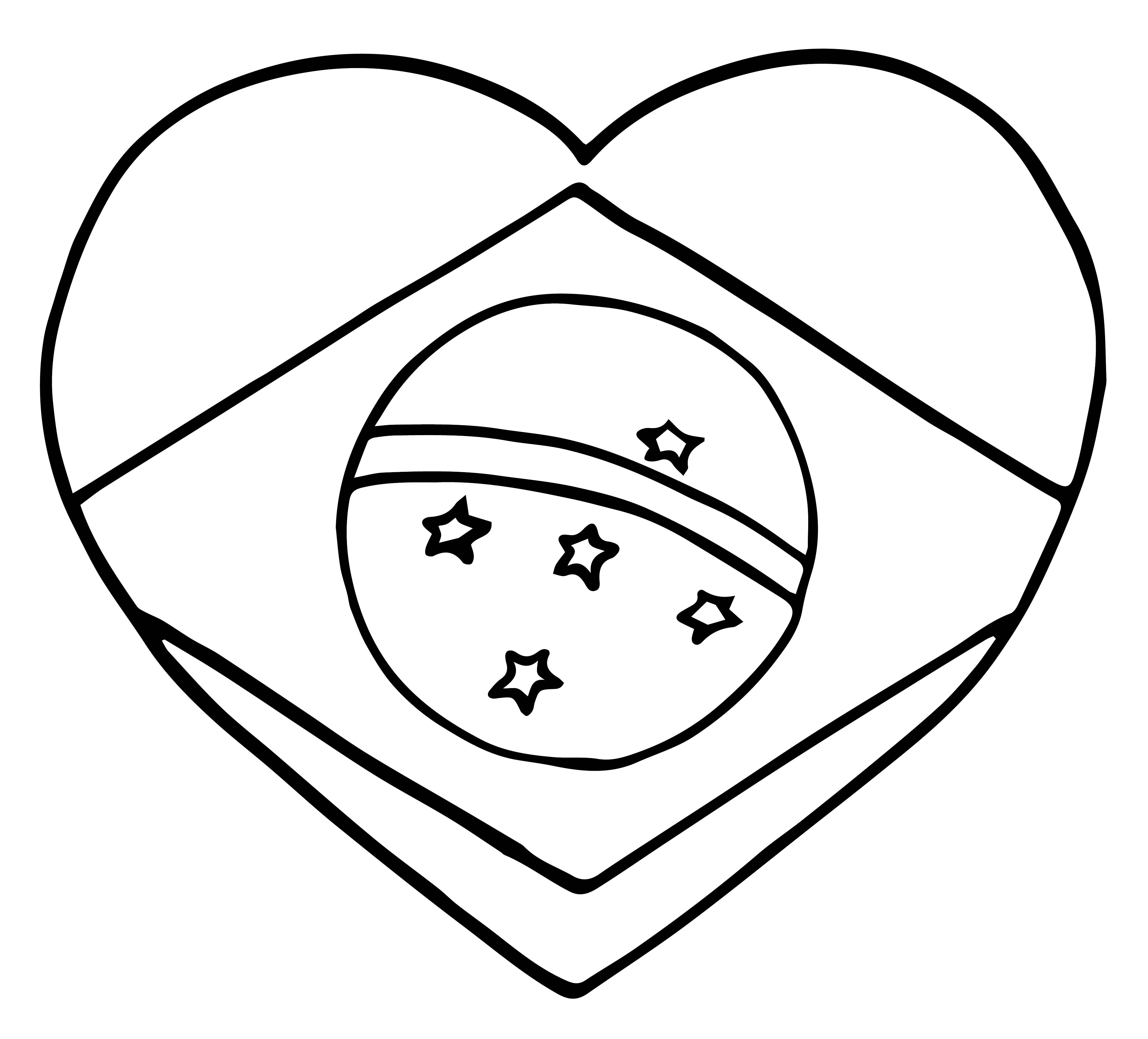 Brasil Heart Coloring Page