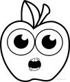 Cartoon Apple Coloring Pages 16