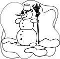 Cartoon Snowman Winter Clip Art Gratis Coloring Page