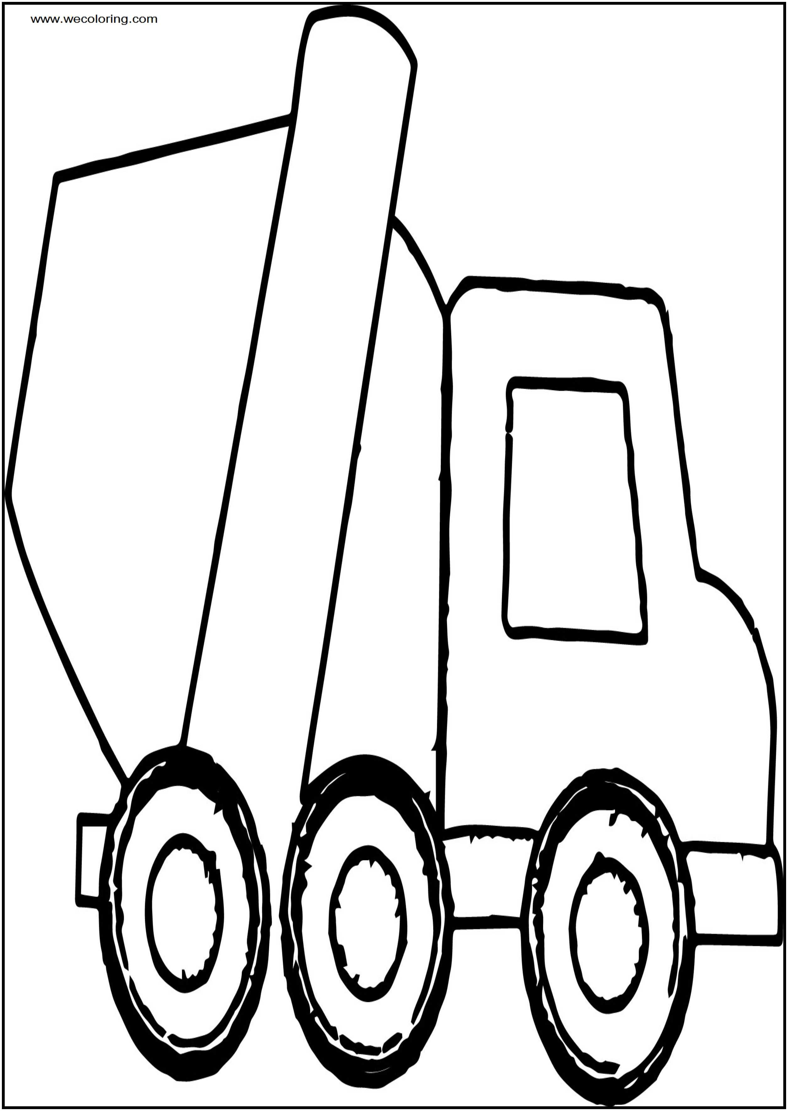 Cement Truck Smaller Free A4 Printable Coloring Page